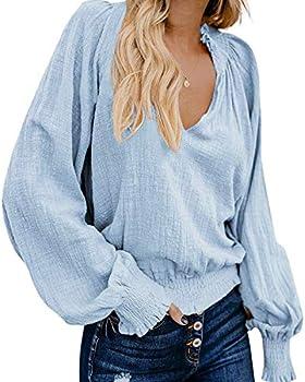 LAMISSCHE Womens Boho Blouse V Neck Crop Top Lantern Long Sleeves Pleated Shirts Peasant Blouse Blue,M