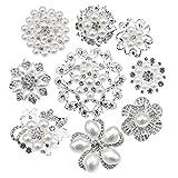eGlomart Lot 9pcs Silver-Tone Rhinestone Brooches, Big Pearl Crystal Wedding Bouquet kit Set Wholesale lot Set Pins Fashion Women Girl Flower Clear Brooch
