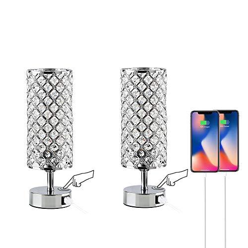Lámpara de mesa de cristal con control táctil regulable de 3 vías, juego de 2, moderna y elegante decoración, lámparas de mesita...