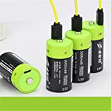 Quickbuying Reachargeable Lipo Battery 2Pcs ZNTER 1.5V 3000mAh Rechargeable C Size Li-Po Battery