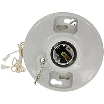 Leviton 49816-C Medium Base 1-Piece Pull Chain Incandescent Outlet Box Lampholder 250 Volt White 49816C
