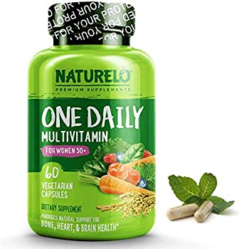 NATURELO One Daily Multivitamin for Women 50+  Iron Free  - Menopause Support for Women Over 50 - Whole Food Supplement - Non-GMO - No Soy - 60 Capsules   2 Month Supply