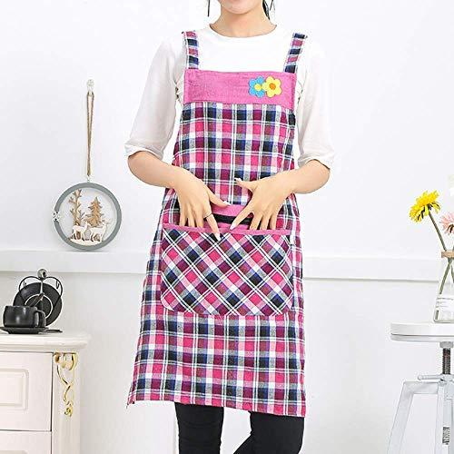 LYDCX (2 Pièces Tablier Nordique Femelle sans Bretelles Coton Cuisine Cuisine Culotte Salopette Rose Américain