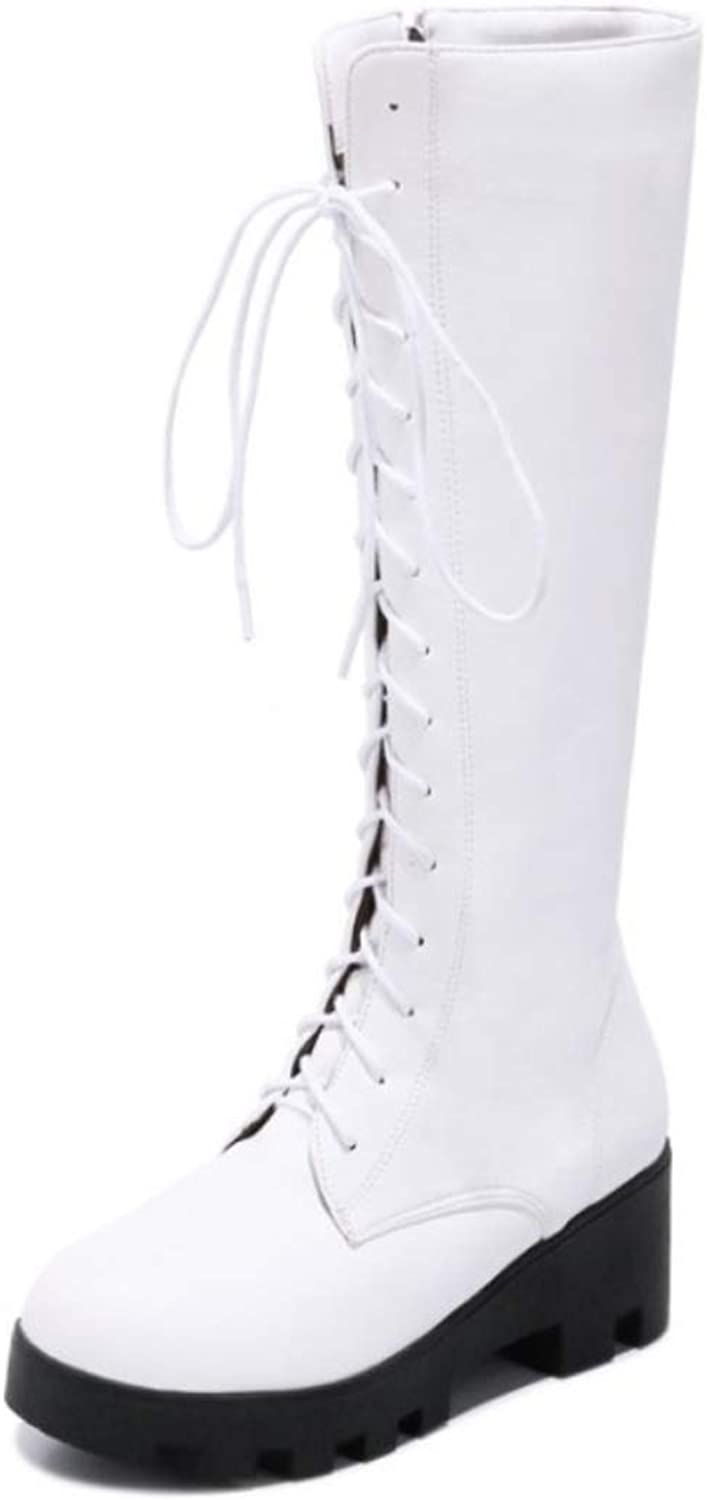 Womens Boots Fall Winter Riding Boots Chunky Heel Round Toe Knee High Boots Lace-up White Black Red