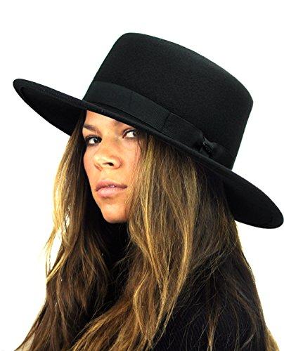 NYFASHION101 Wool Wide Brim Porkpie Fedora Hat w/Simple Band Accent - Black