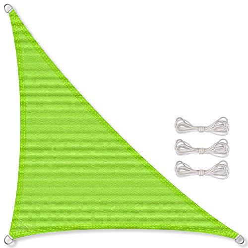 CelinaSun zonnedoek incl bevestigingstouwen HDPE weerbestendige ademende driehoek rechthoekig 2,5 x 2,5 x 3,5 m groen