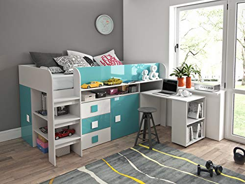 Etagenbett für Kinder TOLEDO 1 Stockbett mit Treppe und Bettkasten KRYSPOL (Weiß + Türkisglanz)