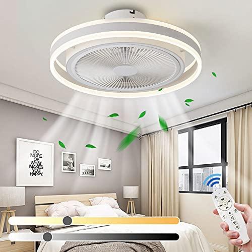 Ventilador de techo LED moderno con luces regulables con control remoto Velocidad de viento ajustable Luces del ventilador de techo Temporizador de luz colgante para sala de estar dormitorio comedor