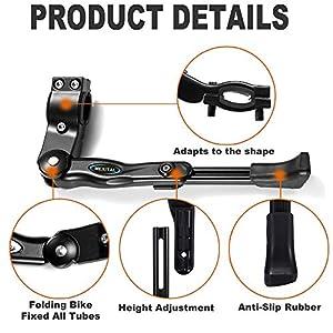 MEXITAL caballetes para Bicicletas, 4cm Altura Ajustable y Durable, Universal Soporte de Bicicleta Aleación de Aluminio Adapta a 24-28 Pulgadas MTB Montaña, Carretera Bicicleta, Plegable Bici