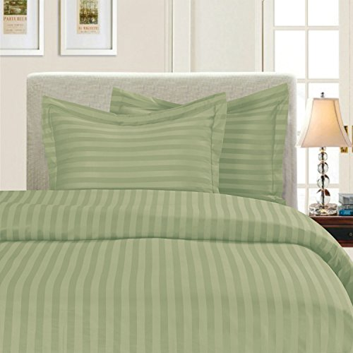 Elegant Comfort Best, Softest, Coziest 3-Piece Duvet Cover Sets! - 1500 Thread Count Egyptian Quality Luxurious Wrinkle Resistant 3-Piece Damask Stripe Duvet Cover Set, Twin, Sage/Green