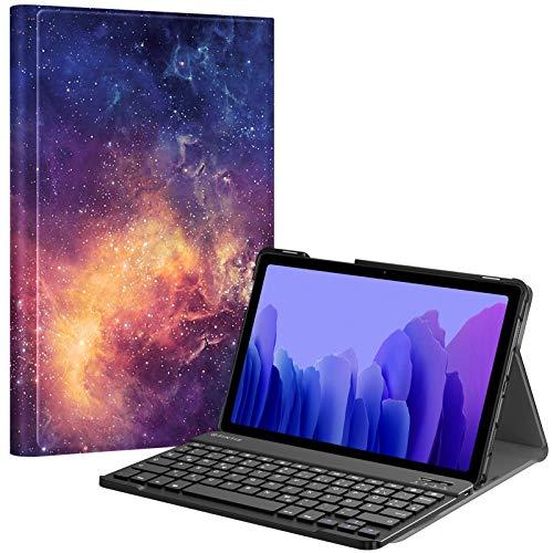 Fintie Tastatur Hülle für Samsung Galaxy Tab A7 10.4'' 2020 (SM-T500/T505/T507), Ultradünn leicht Schutzhülle mit magnetisch Abnehmbarer drahtloser Deutscher QWERTZ Bluetooth Tastatur, Die Galaxie