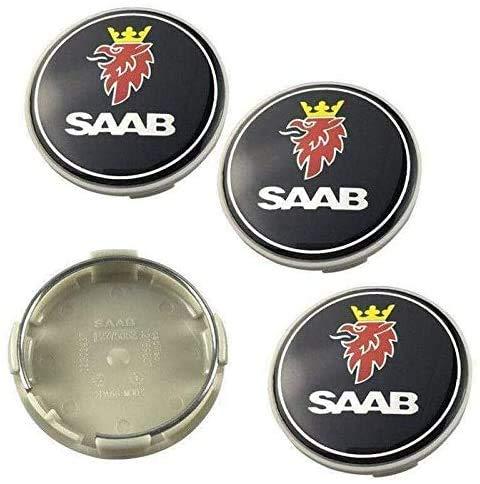 4pcs 63mm Schwarz Saab Auto Styling ZubehöR Emblem Abzeichen Aufkleber Radnabenkappen Mittelabdeckung Saab 93, 9-3, 9-5 Vector Linear Aero