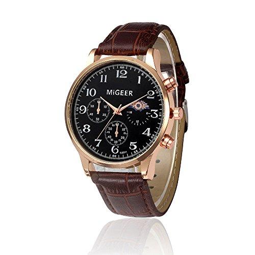 Fxbar,Mens Watches Brand Classic Analog Wrist Watch Arabic Numerals Bracelet Watches (Brown)