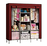 Lukzer 1PC Multipurpose Storage Organizer Clothes Wardrobe Imported Non-Woven Portable Fabric Closet with 8 Shelves (Wine Red / 130 x 45 x 175 cm)