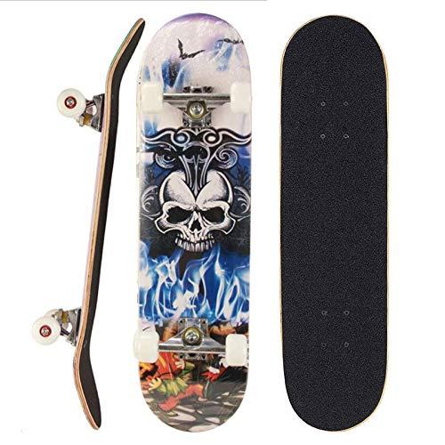 Sumeber Skateboard für Anfänger 31 x 8 Zoll Komplettboard mit ABEC-7 Kugellager Double Kick Skateboards Geburtstagsgeschenk für Kinder Teenager und Erwachsene (König Schädel)