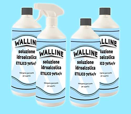Kit Walline - 4x Soluzione Idroalcolica Alcol Etilico 70% v/v Per Superfici 1 lt Con Spruzzatore + 3...