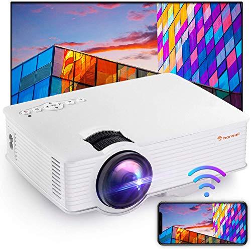 Bonsaii プロジェクター ワイヤレス ケーブルなしでスマホを投影できる WiFi機能付き 1080PフルHD対応 自宅で映画館気分を味わえる スピーカー付き TVスティック、HDMI、USB、ノートパソコン、DVD、TF SDカード対応 日本語取扱書付き PJ8003 White