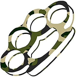 hBARSCI Brass Knuckles Vinyl Decal - 5 Inches - for Cars, Trucks, Windows, Laptops, Tablets, Outdoor-Grade 2.5mil Thick Vinyl - Camo Print