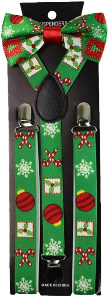 FENICAL Christmas Bow Tie Suspenders Set Adjustable Suspenders Bowtie Cute Trousers Braces for Man Woman