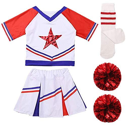 Conjunto de disfraz de animadora para niñas y niños, ideal para fiestas de carnaval, con falda y calcetines a juego con pompones, Manga corta blanca y roja., 4-5 Years/Tag 110