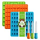 Lizber Newest Generation - 3 Packs Silicone Gummy Bear Candy Molds with 53 Cavities, 3 Bonus Droppers Perfect for Mints Chocolates Fudge Ice Cubes, BPA Free ( Blue, Green, Orange)