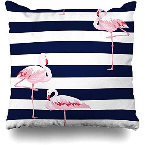 Throw Pillow Case 45x45 cm Elegant Pink Flamingo White Seamless Textile Pattern Stripes Animals Wildlife Textures Stripe Navy Cushion Cover