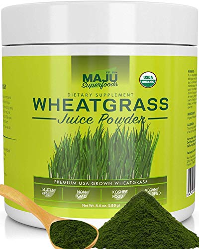 Organic Wheatgrass Juice Powder: Grown in Volcanic Soil, No High Temperatures Used, Non-GMO, Instant...