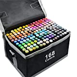 168 Colors Alcohol Markers Dual Tips Permanent Art Markers Pen for Kids & Adult, Alcohol-Based Highlighter Pen Sketch Markers for Painting, Coloring, Sketching and Drawing