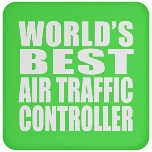 Worlds Best Air Traffic Controller - Drink Coaster Kelly Untersetzer Rutschfest Rückseite aus Kork - Geschenk zum Geburtstag Jahrestag Muttertag Vatertag