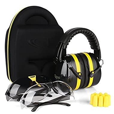 TRADESMART BUILT TRADE TOUGH Tradesmart Ear Muffs, Earplugs and 2PK Adjustable Gun Safety Glasses with Case - UV400 and Anti Fog Eye Protection