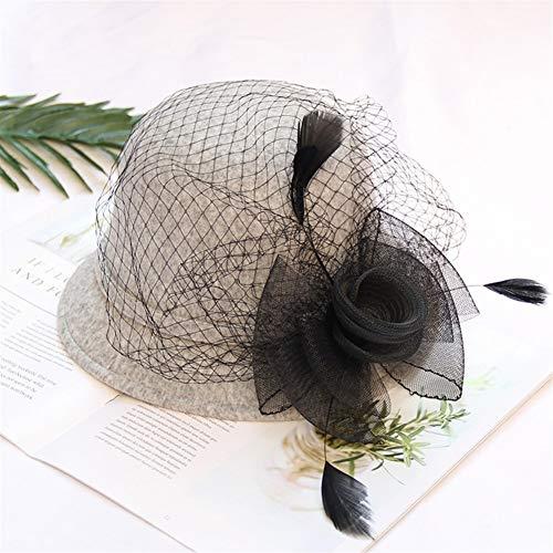 HaiNing Zheng De en winter vrouwelijke Britse retro mode wilde mesh hoed veren bloempotten hoed vilt hoed Adjustable Grijs