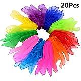 B•You Pañuelos de Baile,Pañuelo de Malabares 20 Piezas Multicolor Pañuelos Mágicos de Seda y Pañuelo para Malabares Jardín de Infancia Show de Niños Danza del Vientre 10 Colores 24 por 24 Pulgadas