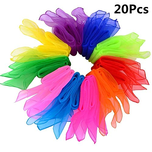byou Foulard Jonglage,Foulards de Danse 20 pièces 24 par 24 Pouces Multicolores Carrée Écharpes Magiques pour Jardin d'enfants Exposition d'enfants Danse du Ventre 10 Couleurs