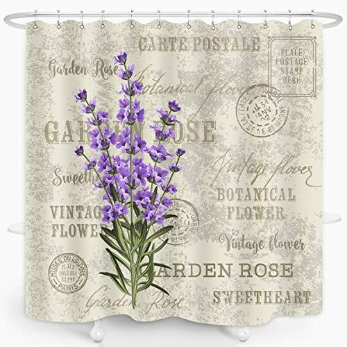 ZXMBF Lavender Shower Curtain Vintage Postcard Floral Bath Curtain Purple Flower Grunge Herbs Leaves Waterproof Fabric Bathroom Decor 72x72 Inch Plastic Hooks 12 PCS Purple Beige Grey