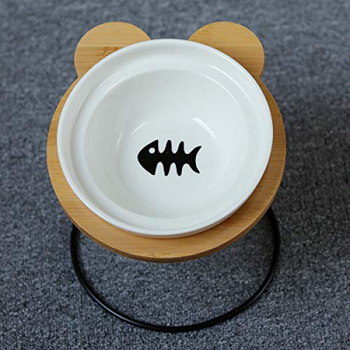 MYYXGS ErhöHte Hunde- Und KatzenfüTterung Keramikschale Pet Bowl Bambusregal Keramik Katzen- Und Hundefutter SchüSsel Pet Feeder