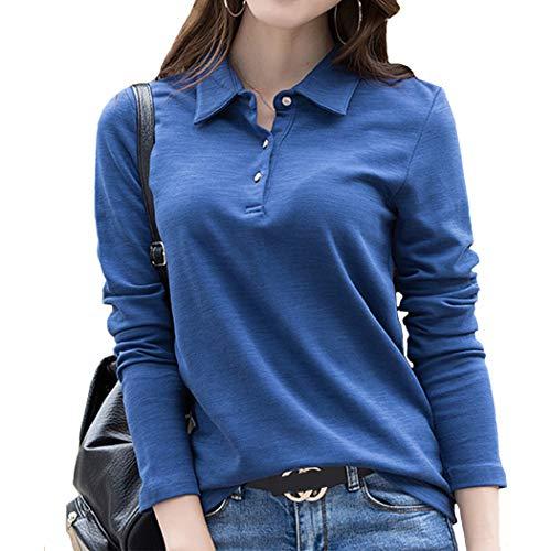 SAGOJP ポロシャツ レディース 襟付き トップス 長袖 ゴルフ シャツ テニスウェア ボウリングウェア スキッパー ポロ シャツ 女性 洋服 5色 M-4XL 3つボタン-青-XL