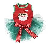Petitebelle - Vestido para perro, diseño de Papá Noel, color rojo y verde