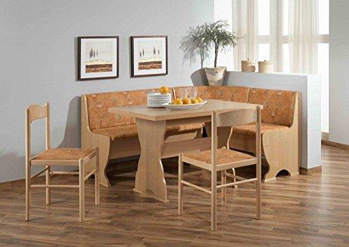 Beauty.Scouts Eckbankgruppe 'Rosie', Eckbank Tisch 2 Stühle Buche Dekor Terracotta Microfaser 4-teiliges Set Truheneckbank Küche Esszimmer Landhaus