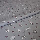 Hans-Textil-Shop Stoff Meterware Baby Elefant Löwe Bär