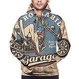 Sudadera con Capucha para Hombre Pin Up Girl On Motorcycle Sweatshirt L...