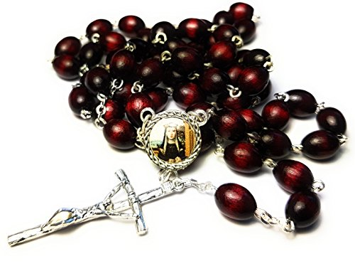 3rd Class relic Rosary of Saint Catherine of Bologna Patron of Bologna Against Temptations Artists Liberal Arts Catalina de Bolonia Patron de Artistas, artes liberales (Cherry)