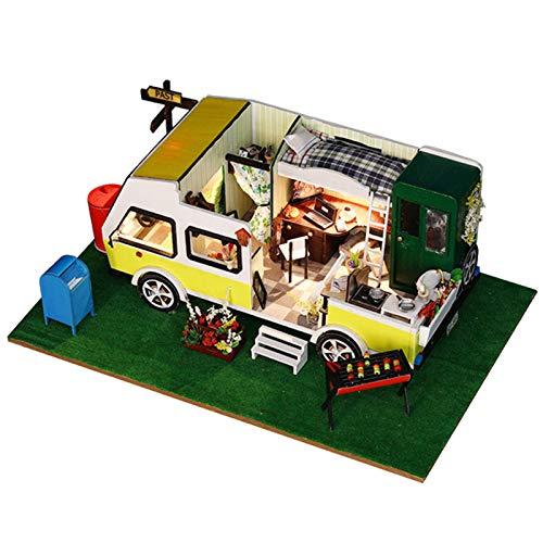 Asixxsix Casa de muñecas en Miniatura, casa de muñecas de Madera DIY, con Luces LED Kit de casa de muñecas DIY, para niños Regalos Decoración Niños(K-037 Cabin Standard)
