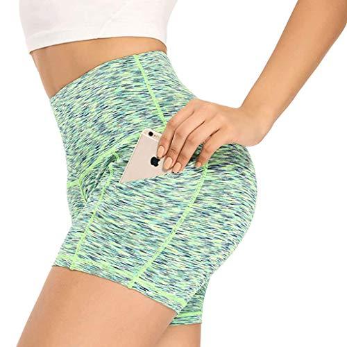 AUU Yoga-Shorts für Damen, elastisch, für Workout, Fitness, Laufen, Athletik, Gelb, Größe XXL