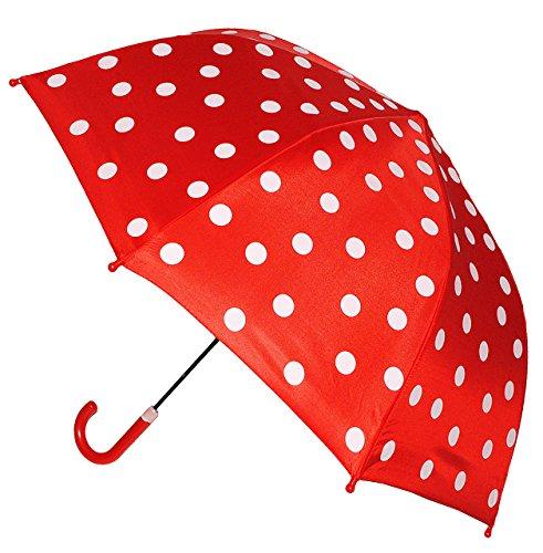 alles-meine.de GmbH Kinderschirm / Regenschirm - Ø 74 cm - rot weiße Punkte - Schirm für Kinder Stockschirm mit Griff - gepunktet Punkt - für Mädchen & Jungen - rote Polka Dots -..