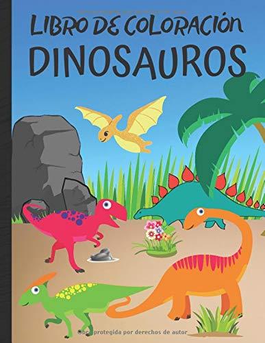 Libro de coloracion dinosauros: libro para colorear de dinosaurios y animales prehistóricos (tortugas, cocodrilos...) para niños y niñas - aprender a dibujar fácilmente | formato 8,5*11