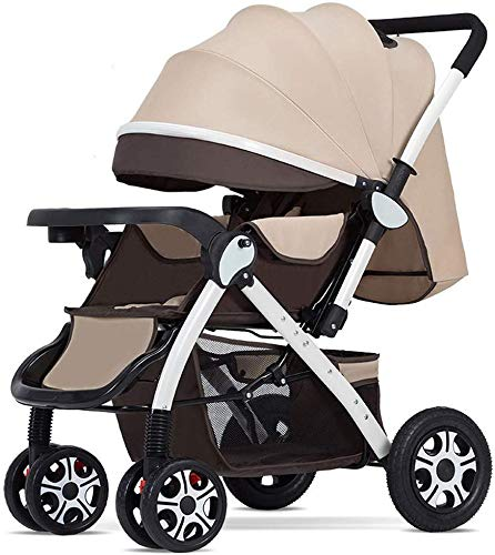 Baby carriage Hot Mom Pushchair • Kompakte Kinderwagen • Buggy mit Liegeposition • Zweiwege-Kinderwagen-Reisesysteme • Mit Regenschutz,Braun B