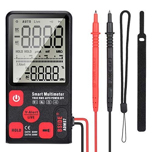 Multímetro Digital, Bolsillo Portátil Pantalla Grande LCD Digital Rango de Voltaje/Corriente/Frecuencia de Distribución Automática 6000 Cuentas con 2 Cables de Prueba Multimétricos Sondas Kit