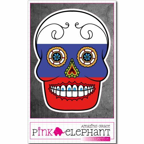 pinkelephant Aufkleber / Autoaufkleber - Russland - Totenkopf Sugar Skull - 9 x 12 cm - Fahne flag