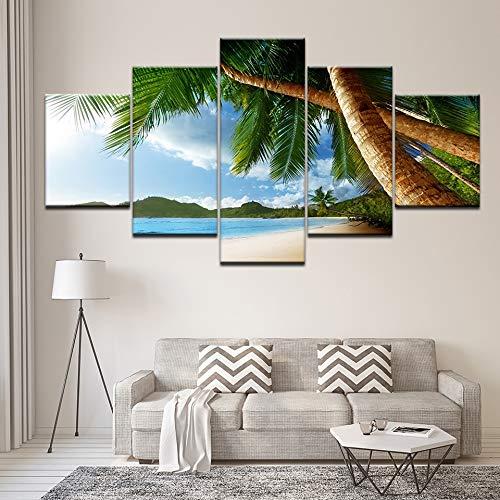 Tong99 muurschildering, moderne decoratie van het huis, canvas, voor woonkamer, modulair, 5 plankjes, strand, maritiem, wanddecoratie L-30x40 30x60 30x80cm Geen frame