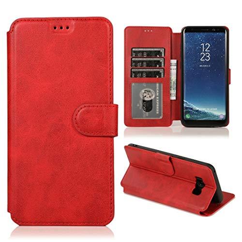 MOHAMED para Samsung Galaxy S8 Plus Calva Textura Hebilla magnética Flip Horizontal Funda de Cuero con Soporte y Ranuras para Tarjetas y Marco de la Billetera (Color : Red)